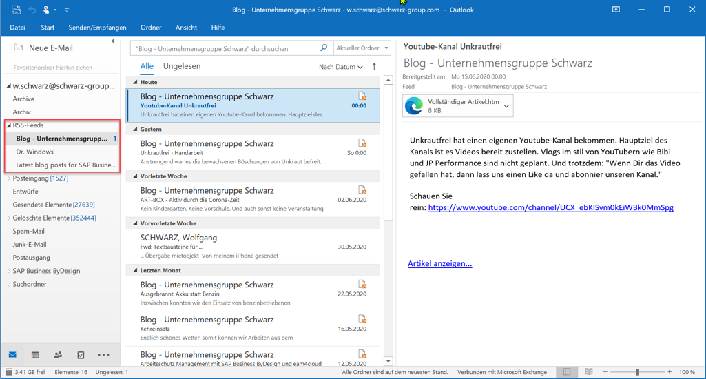 Outlook als RSS-Reader.